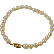 "14k Hand Knotted 7"" Cultured Pearl Bracelet"