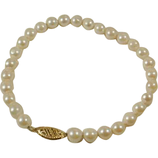 """14k Hand Knotted 7"""" Cultured Pearl Bracelet"""