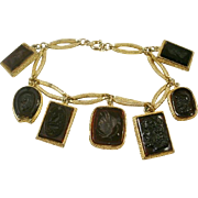 Vintage Double Sided Intaglio and Cameo Fob Charm Bracelet