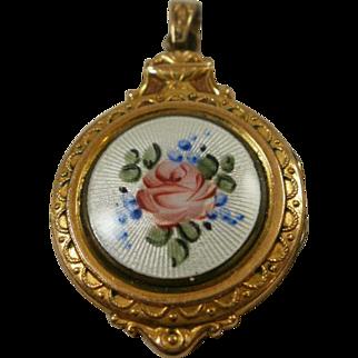 Gorgeous Vintage Gold Filled Enamel Locket