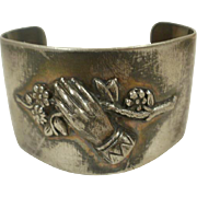 Victorian Silver Plate Remembrance Cuff Bracelet