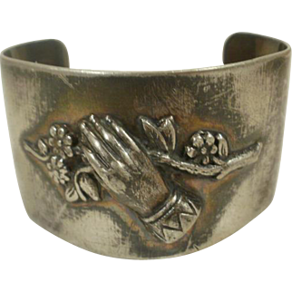Victorian Silver Plate Remembrance Cuff Bracelet