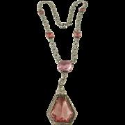 Gorgeous Art Deco Pink Glass Drop Necklace