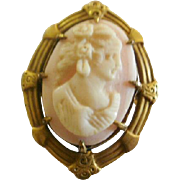 Art Deco Egyptian Revival Angel Skin Flapper Coral Cameo Brooch