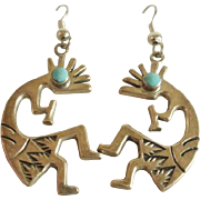 Large Sterling Turquoise Kachina Drop Earrings