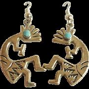 Large Sterling Turquoise Kachina Drop Earrings