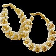 Goldette Wired Faux Pearl and Rhinestone Hoop Earrings
