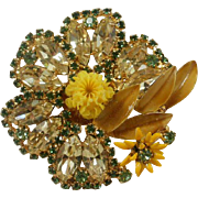 Yellow and Green Rhinestone Celluloid Enamel Flower Brooch