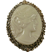Marked Lenox Porcelain Sterling Vermeil Cameo Pendant/Brooch