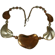 "Artisan Mixed Metal Brutalist ""Kidney Bean"" and Bead Necklace"