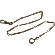 Victorian Era Ornate Chased Bar and Link Watch Chain