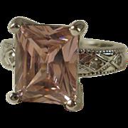 Sterling Fancy Cut Pink CZ Ring ~7