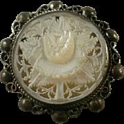 Marked Jerusalem 925 Carved MOP Pendant/Brooch