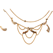 Gorgeous Gold Filled Crystal Festoon Necklace Set