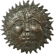 Fabulous Vintage Sterling Sunface Brooch/Pendant Marked