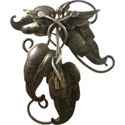 """Hand Wrought Sterling Marked """"OLIVIA"""" Brooch"""