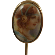 10k Hand Painted Porcelain Stick Pin
