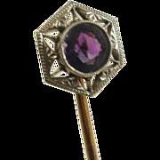 Edwardian Era 14k Amethyst Stick Pin