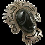 Cheo Sterling Taxco Obsidian Brooch/Pendant