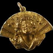 "Art Nouveau Era ""Puffy"" Brass Geisha Pendant"