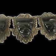 Vintage Sterling Obsidian Mask Bracelet
