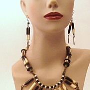 Wonderful Egyptian Revival Demi Parure Bib Necklace and Earrings