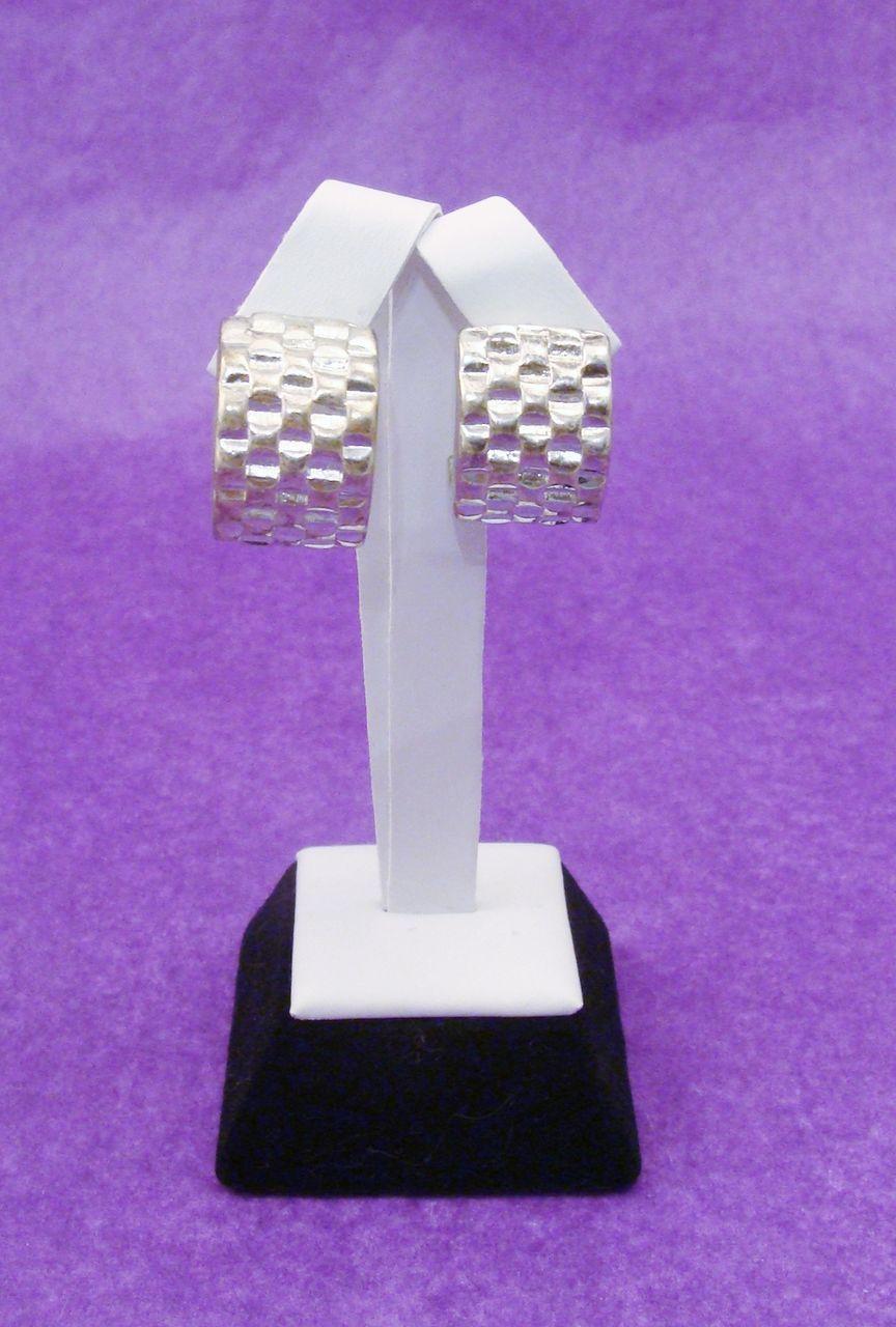 Chunky Designer GIVENCHY Signed Modern Basket Weave Earrings