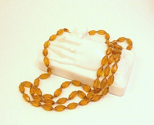 "Roaring 1920's Art Deco 52"" Long Amber Color Cut Crystal Flapper Necklace"