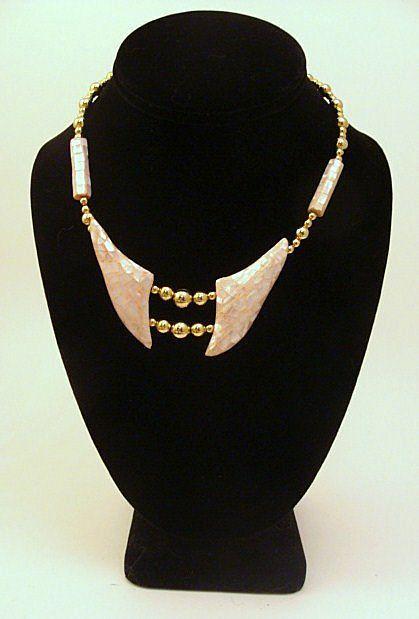 Vintage 1980's Signed KARLA JORDAN Pink Pearlescent Necklace