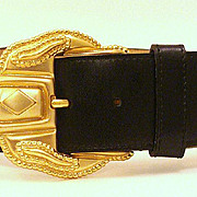 Vintage Early 80's Anne Klein for Orton WIDE Belt & CHUNKY Buckle