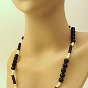 BOLD Black & White Signed KARLA JORDAN Necklace