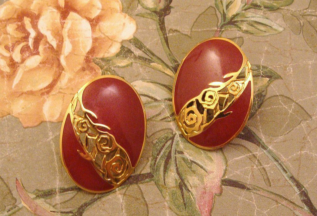 Vintage Designer Signed EDGAR BEREBI Rose Earrings