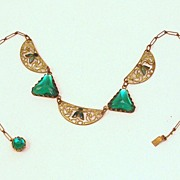 Incredible Art Deco Egyptian Revival Brass, Enamel & Glass Necklace