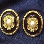 Gorgeous Enamel & Faux Pearl Cabochon 1928 Jewelry Co. Earrings