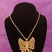 Rare Vintage 1960's Luca Razza Signed Jointed Butterfly Pendant & Necklace