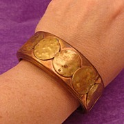 Vintage Wide Copper & Brass Bangle Bracelet