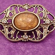 Victorian Revival Brooch ~ Pin with Faux Dragons Breath Center