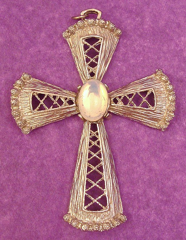 Gorgeous Large Silver Tone Cross with Faux Moonstone Cabochon