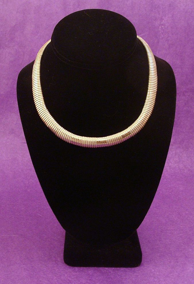 Silver Tone Textured Serpentine ~ Flexible Gas Pipe Collar Necklace
