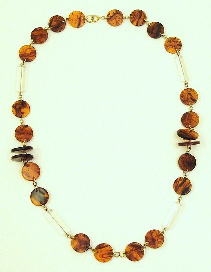 Incredible Faux Tortoise Shell and Clear Lucite Necklace