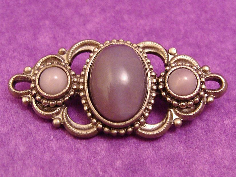 Victorian Revival Brooch of Purple Faux Moonstone Cabochons