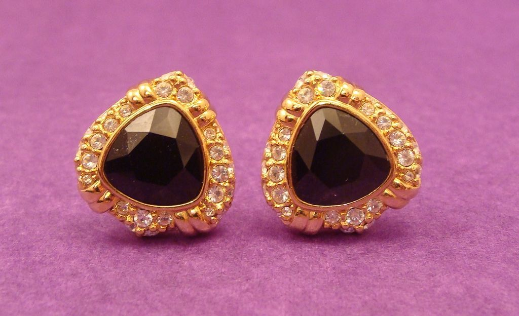Classic Jet Black Cut Crystal and Rhinestone Gold Plated Earrings by Swarovski