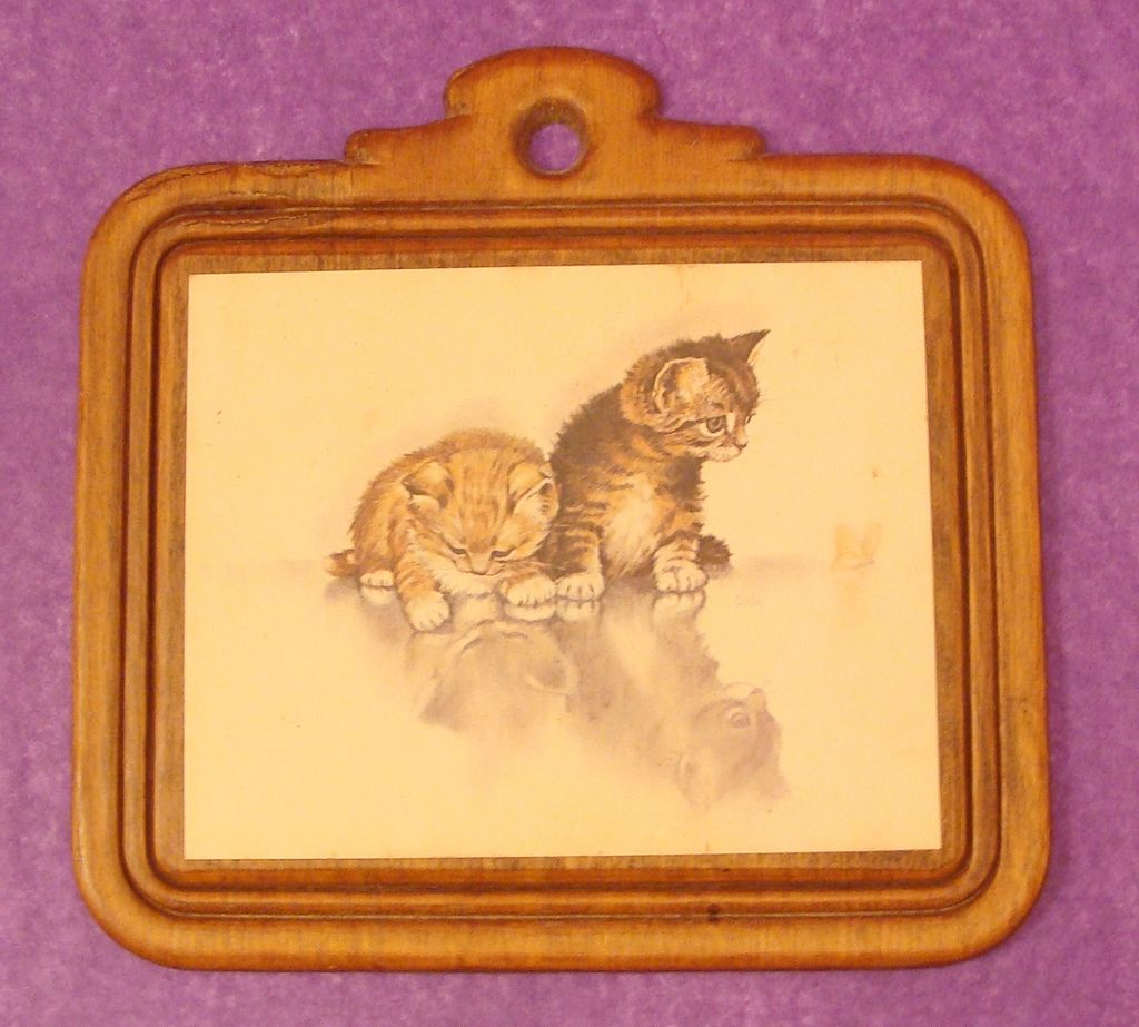 Vintage Wooden Plaque Kittens and Butterfly
