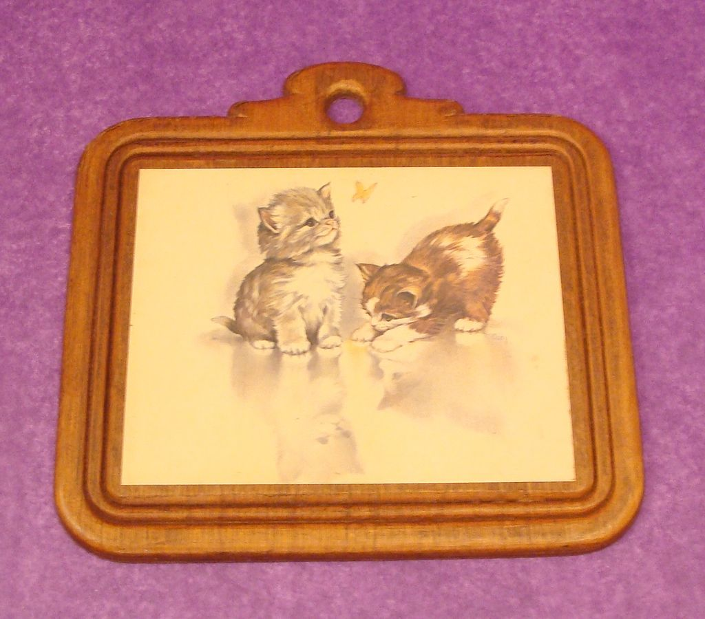 Vintage Carved Wooden Plaque Kittens Print by Coby