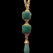 50% OFF Gorgeous Peking Glass Lavalier Drop Necklace