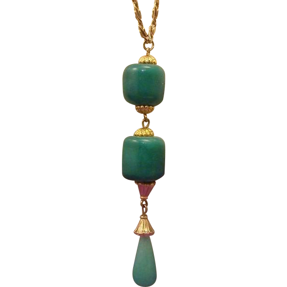 Gorgeous Peking Glass Lavalier Drop Necklace
