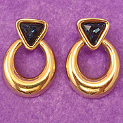 Stunning SAL ~ Early Swarovski Signed Sapphire Blue Crystal Door Knocker Earrings