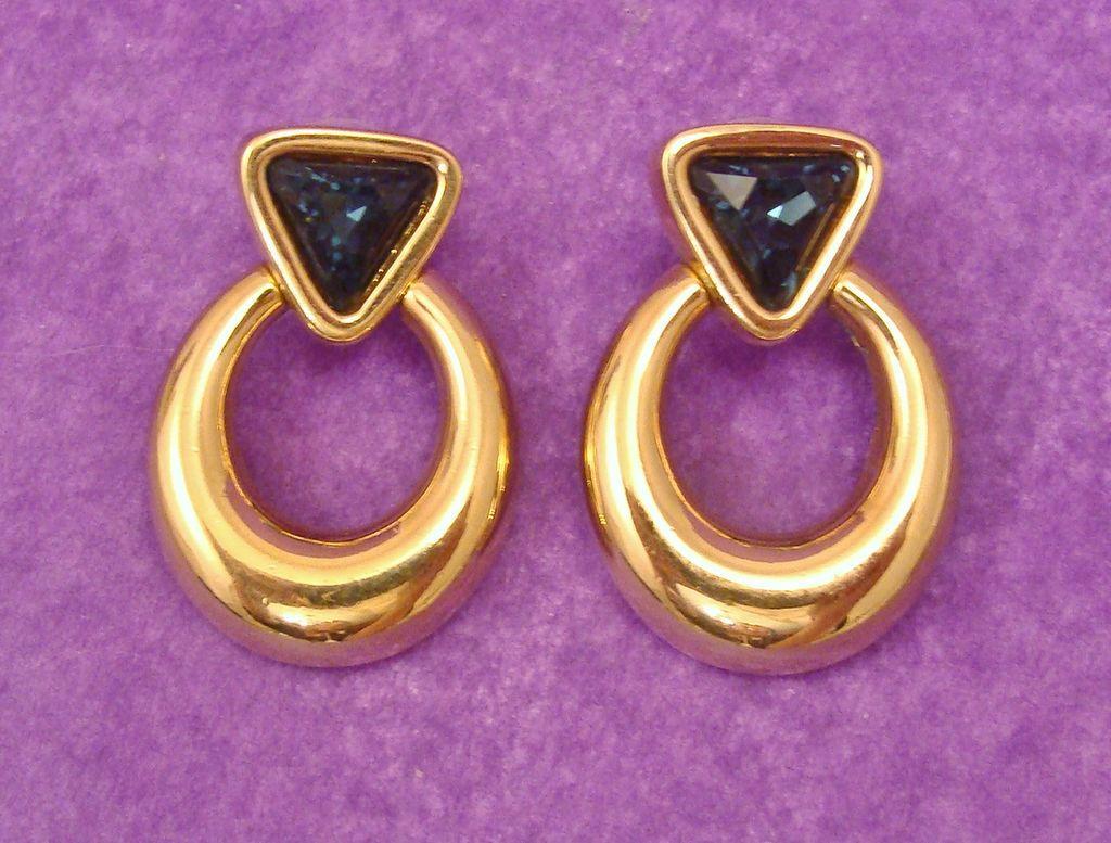 Stunning SAL ~ Early Swarovski Signed Sapphire Blue Crystal Door Knocker Earrings