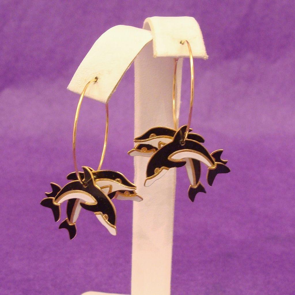 Signed Edgar Berebi Leaping Dolphin Earrings