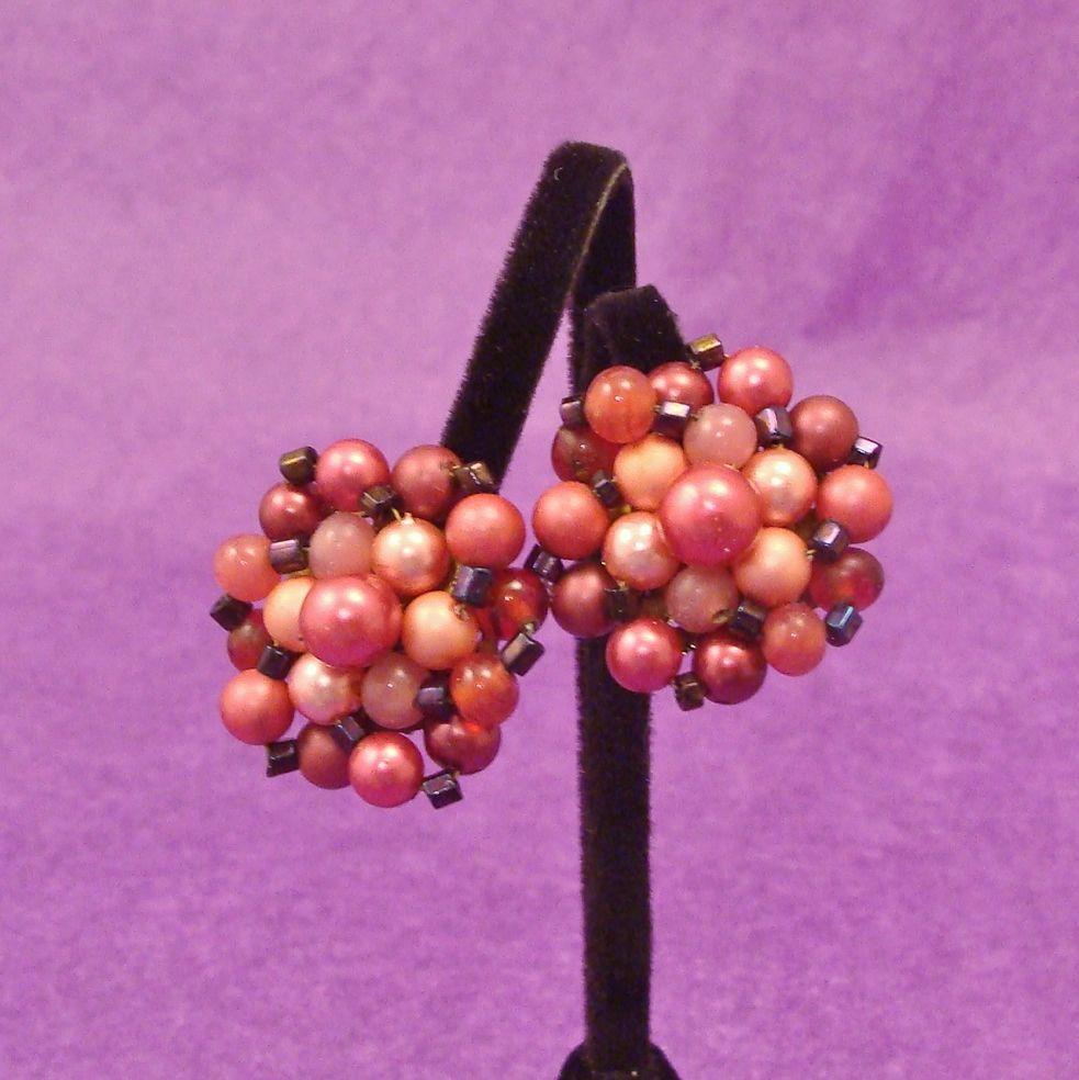 The Colors of Fine Wines Vintage Bead Earrings
